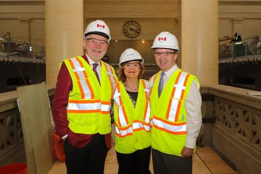The Government Representative Office  in the Senate – Senator Peter Harder, Senator Diane Bellemare and Senator Grant Mitchell – took part in a tour of the Government Conference Centre as the space is being transformed into a temporary Senate chamber.