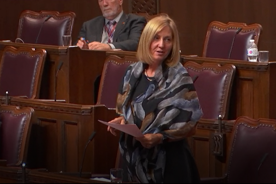 Senator Patti LaBoucane-Benson participates in an emergency debate about racism in Canada on June 18, 2020.