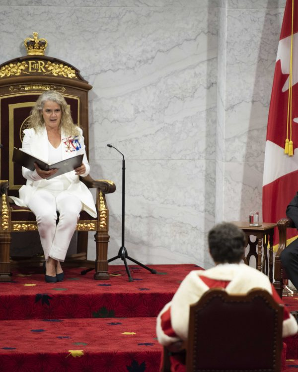 A physically distanced Speech from the Throne